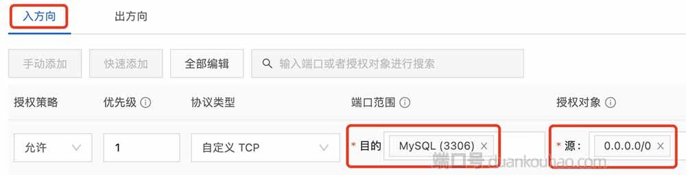 安全组放行MySQL 3306端口